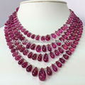#SCZZ Natural Pink Tourmaline Tear Drop Faceted Beads Bracelet Rubellite