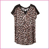 chiffon shoulders patched leopard printed elastic fabric short sleeves lady blouse