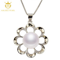Hot sale 925 silver freshwater natural pearl new flower best friends forever necklaces