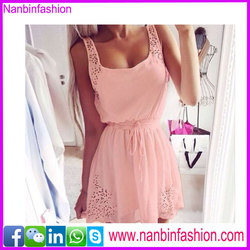 summer pink sexy dress fashion sleeveless dress