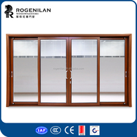 ROGENILAN 120 series 4 panels balcony sliding doors with blinds inside
