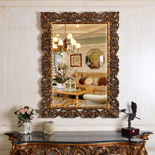 PU123 Antique Gold Interior Wall Hanging Square Mirror