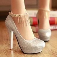 W91618A 2015 new fashion ladies high heel single shoes diamond round head bridal wedding shoes