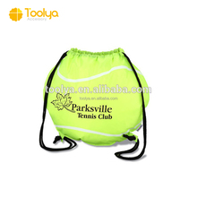 Customized Reinforced Eyelets Polyester Tennis Drawstring Bag Backpacks Gym Bag