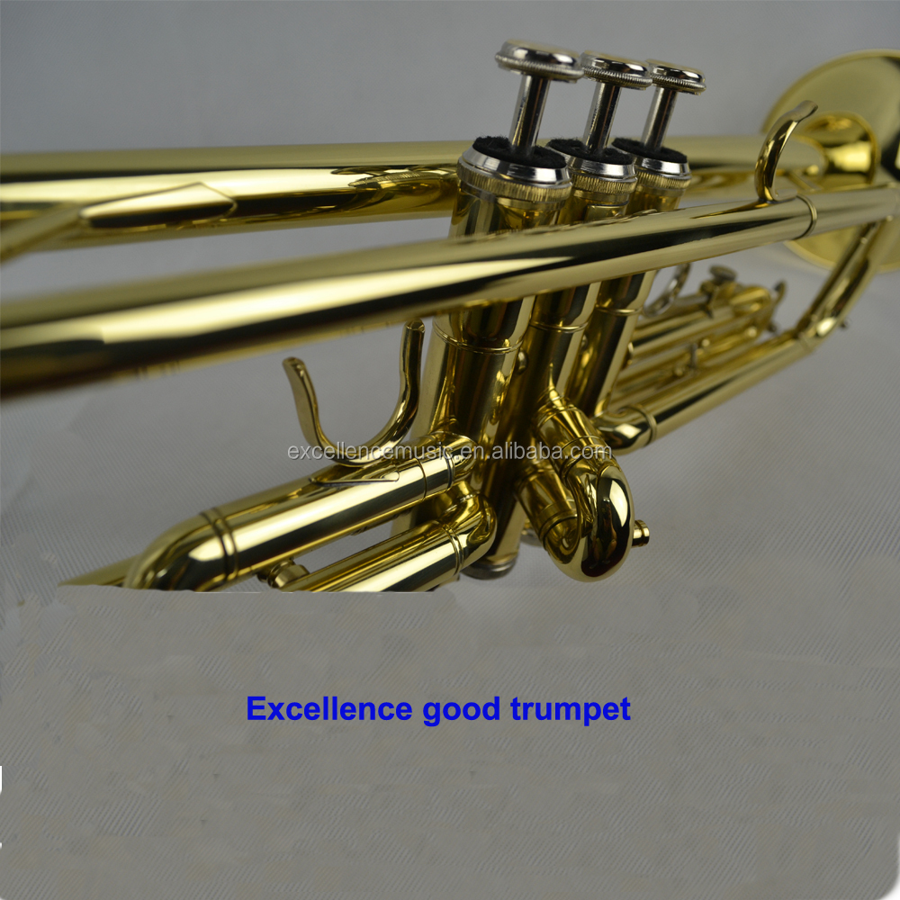 brass body stainless steel valve gold lacquer bb cheap trumpet made in China