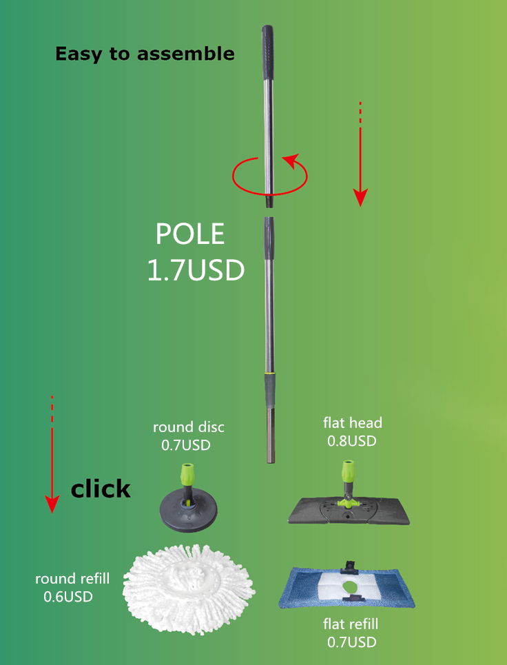 flat rotating mop, with same performance as normal flat mop and can spinning washing and drying
