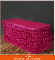 High Quality Home Textile Plum Satin Rosette Table Skirting Designs For Wedding