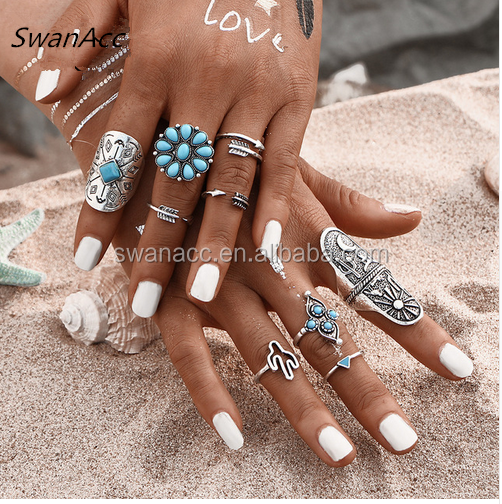 9Pcs/ turquoise Bohemian Ring Set Vintage Steampunk Cross flowers Knuckle Rings for Women 2016 New <strong>Jewelry</strong>