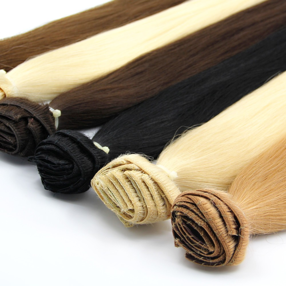 "Wholesale top quality remy human hair extension 20"" clip in"