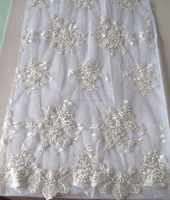 fancy off-white hand embroidery beaded corded tulle fabric for bridal, hot sale stocklot fabric
