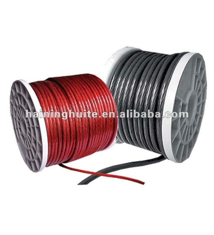 Clear Red and Clear Black Car Audio Power Cable