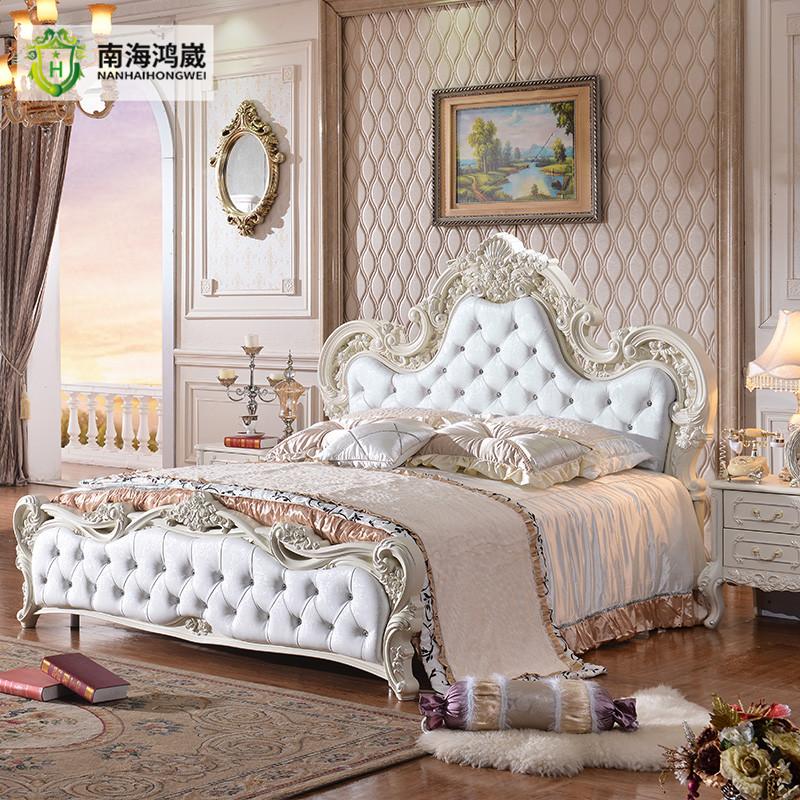 Luxe franse barokke stijl wit lederen bekleding gesneden rose hoofdeinde kingsize bed bedden - Barokke stijl kamer ...