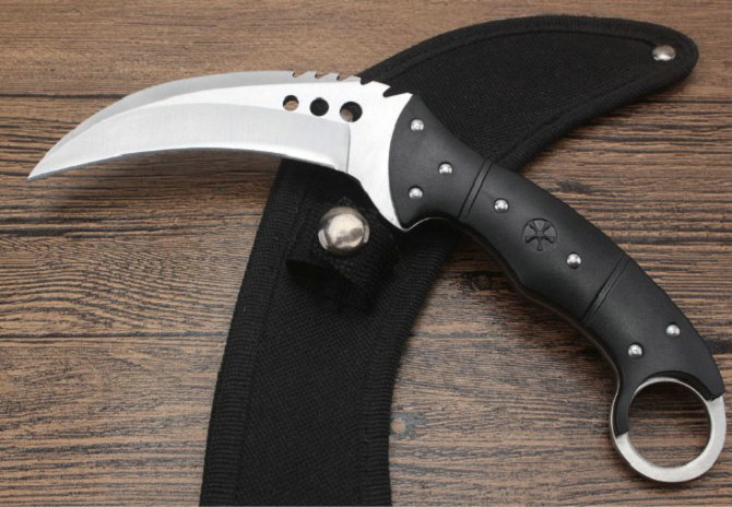 58HRC Steel + Nylon fiber Handle Fixed Tactical Knife Karambit WITH Nylon sheath Survival Tools Dropshipping 8334