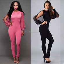 L1878A Hot sale summer fashion women clubwear chiffon splicing romper jumpsuit