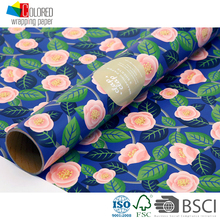 Pink Roses with Navy Blue Bottom Design Factory Direct Gift Packing Paper Gift Wrapping Paper Wrap Paper for Gifts Packaging