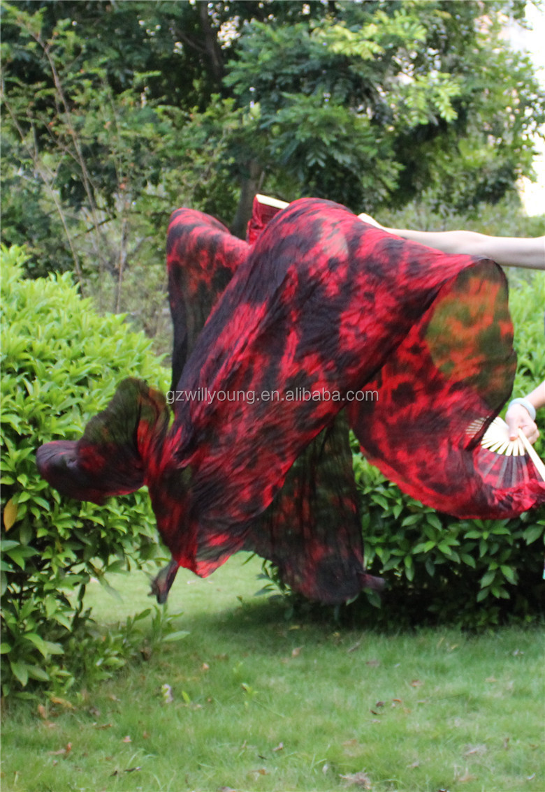 Belly Dance Silk Fans, Belly Dance Nice Tye dyed Silk Fan Veils, 1.8*0.9M, High Quality Tie-dyed BLACK/RED