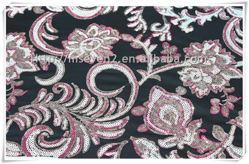 Wholesale Polyester Satin fabric with shiny sequin. colourful embroidery satin sequin fabric for classical dress