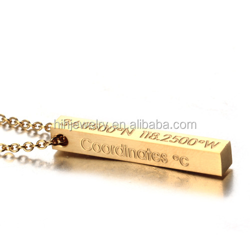 wholesale stainless steel engraved quotes pendant blank gold bar necklace