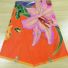 2017 Orange Based Pink Flower Print Design African Print Wax Textiles Practical Fabric For Garments