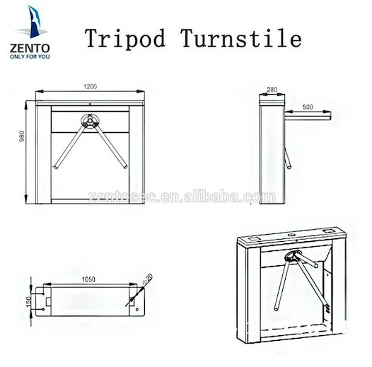 Turnstile gate ZT-803A semi-auto access control three-armed simple tripod turnstile gate