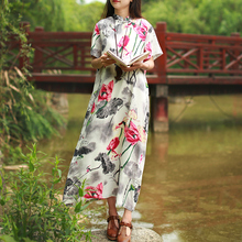 Women Summer Original Design Folk Style 2017 Summer LooseWaist Cotton and Linen Long Maxi Dress.