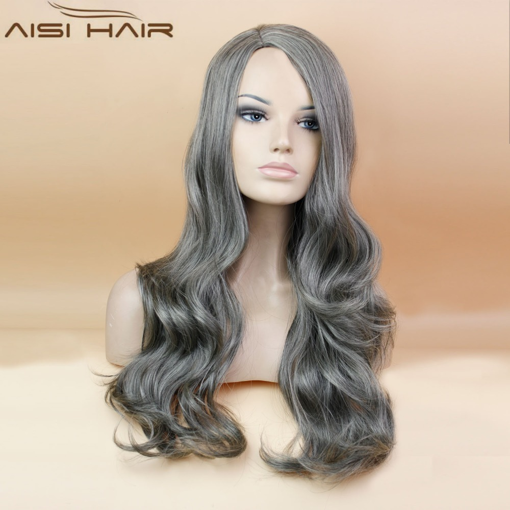 Extra Long Wavy Hair Dark Grey and Blonde Color Synthetic Wigs Mixed Length Machine Made Wigs for Women