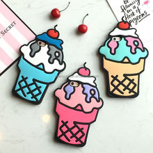 silicone cherry 3D ice cream colorful mobile phone cover cartoon design phone case