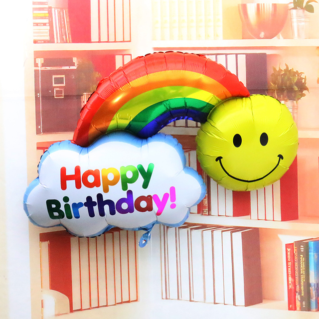 Large Size Smile Face Rainbow Globos Double Side Foil Balloons Happy Birthday Wedding Decoration Balls Have A Nice Day Kids Toys
