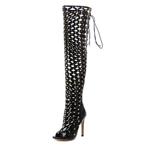 cheelon shoe 2018 fishnet summer long boots gold studs peep toe high heels ladies sexy stiletto sandals