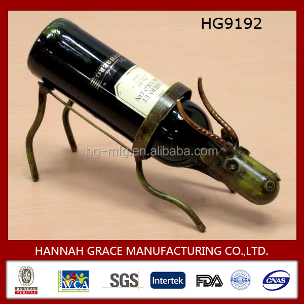 New Home Decoration Animal Metal Single Wine Bottle Holder