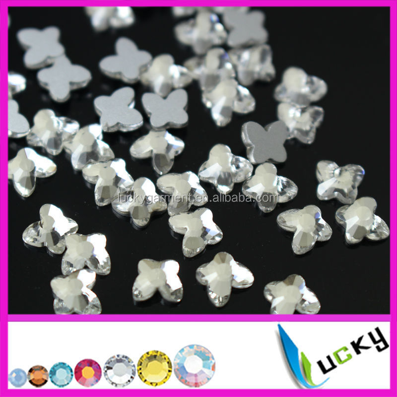 Wholesale 2015 new design shaped nail crystal flat back non hotfix rhinstones butterfly, bear,heart ,star,flower shape
