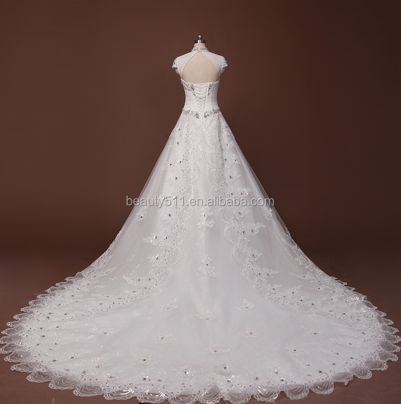 New Style Beaded A-line High Neck and Short Sleeve Long Tail Lace wedding dress
