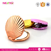 fashional design double sides shell shape cosmetic compact mirror for makeup