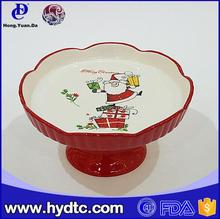 Wholesale custom christmas Elegant Design Porcelain Cake Plate with Foot