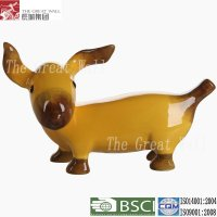 Pretty banana shape sculpture ceramic dogs