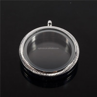 stainless steel round living memory glass floating locket pendant