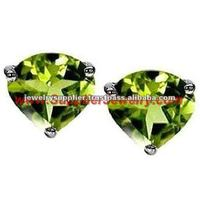 Peridot Hearts Jewelry Fashion Wholesale Distributors Silver Cuff Earrings