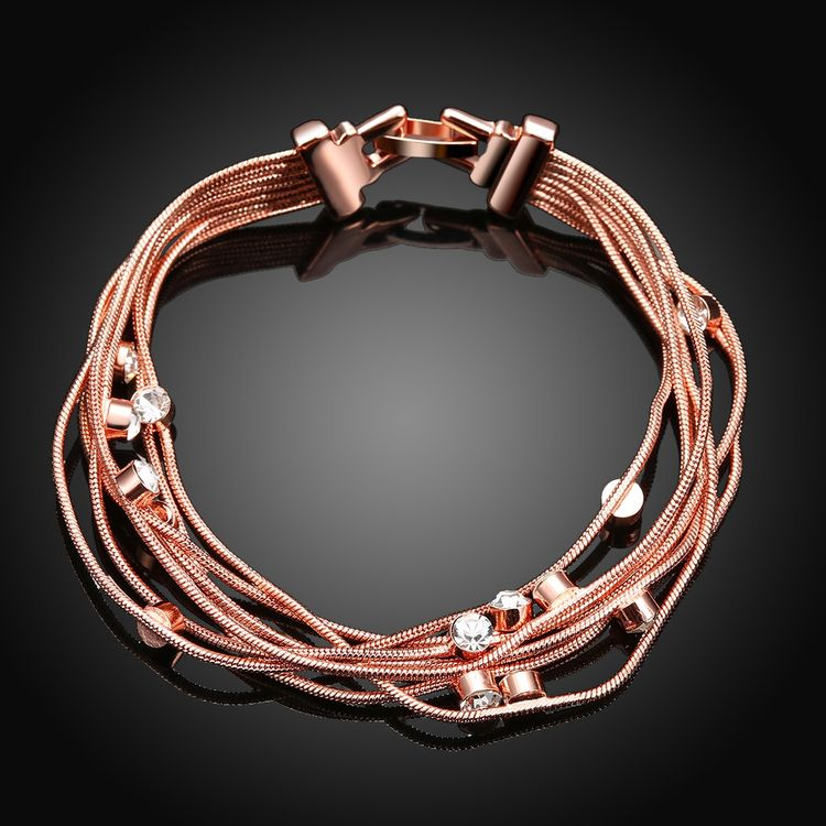 2018 New Fashion Elegant 18k Rose Gold Plated Lead And Nickel Free Multilayer Chain Bracelets