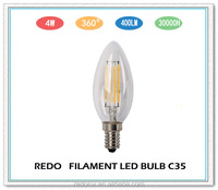 low energy consumption candle light 4W E14 C35 led filament bulb