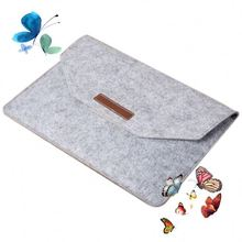 Recyclable loop tablet felt material custom leather laptop sleeve