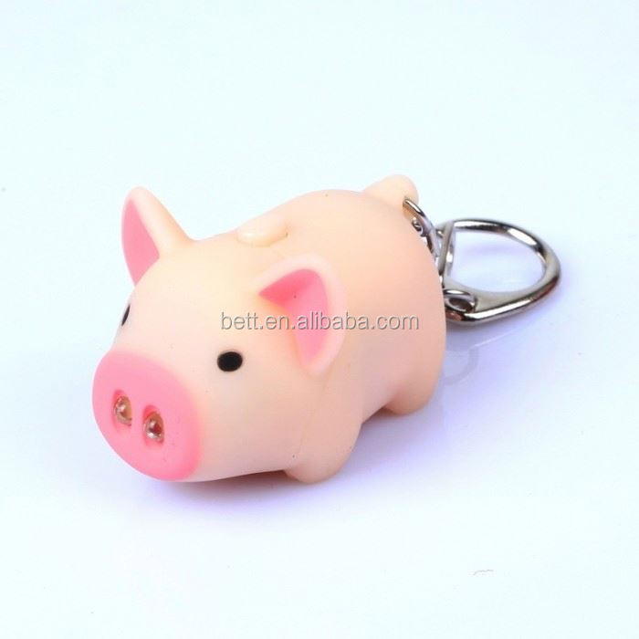 Cute little pig souvenir pvc led lighting flashlights keychain