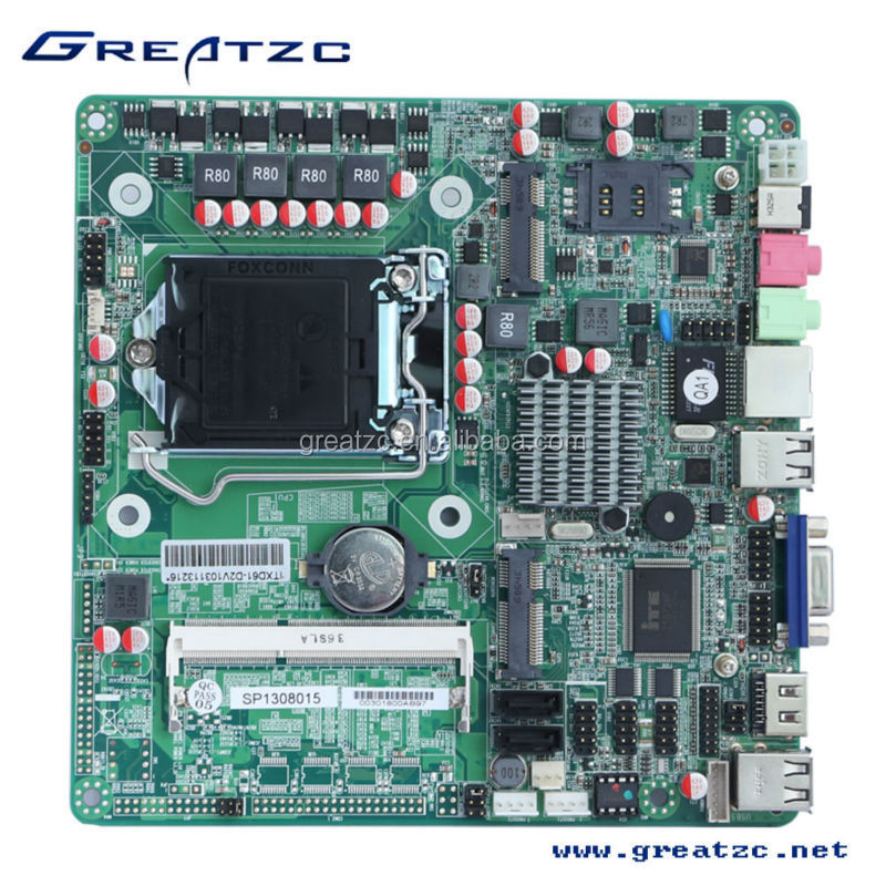 ZC-H61D6C H61 chipset MINI ITX Motherboard onboard LGA 1155 socket,with MINI PCIE,SIM card slot