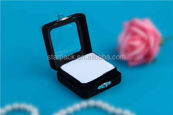 Wholesale Black Flocking Iron Gem Display Box with Window I11S