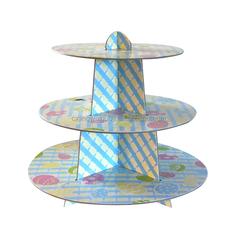 custom made cake decoration paper 3-layer cake stand for Easter