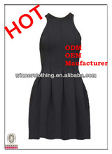 Top Fashion Design Tight Fit Top Flared Bottom Black Flower Look Fitted Dress