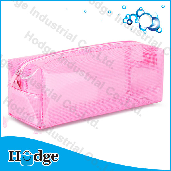 Promotional cheap pink PVC bag with zipper