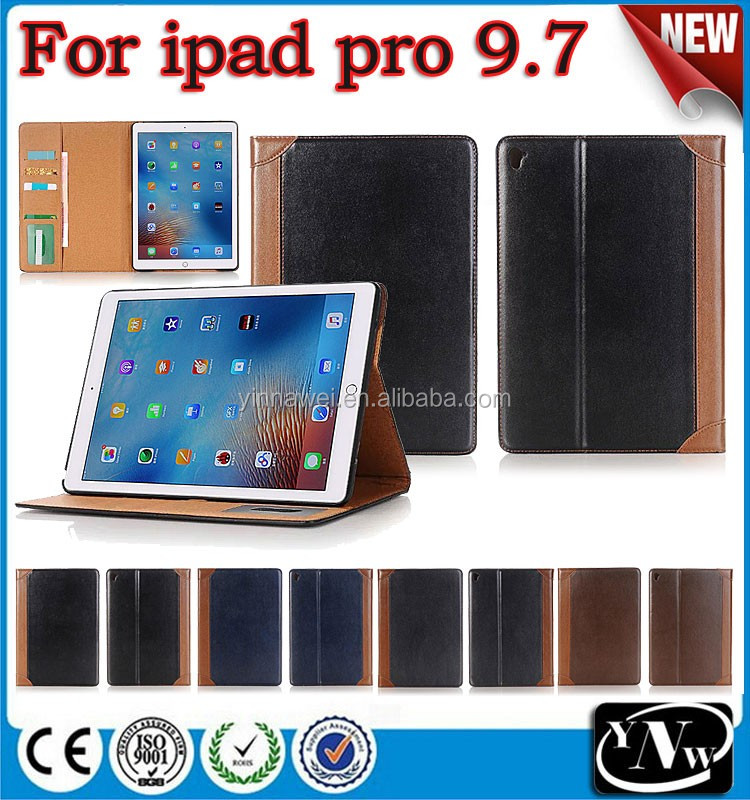 "With pen slot & card slots function book style pu leather cover case for ipad pro 9.7"" book cover"