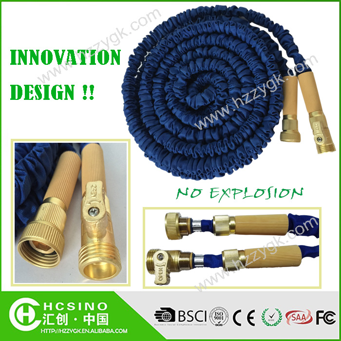 Blue Self-restractable Flexible Garden Water Hose/xxx Portable Expanding Brass Fitting Swivel Turn Off Valve Hose Reels