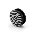 Fashion body jewelry epoxy covered logo picture black acrylic ear flesh tunne plugs