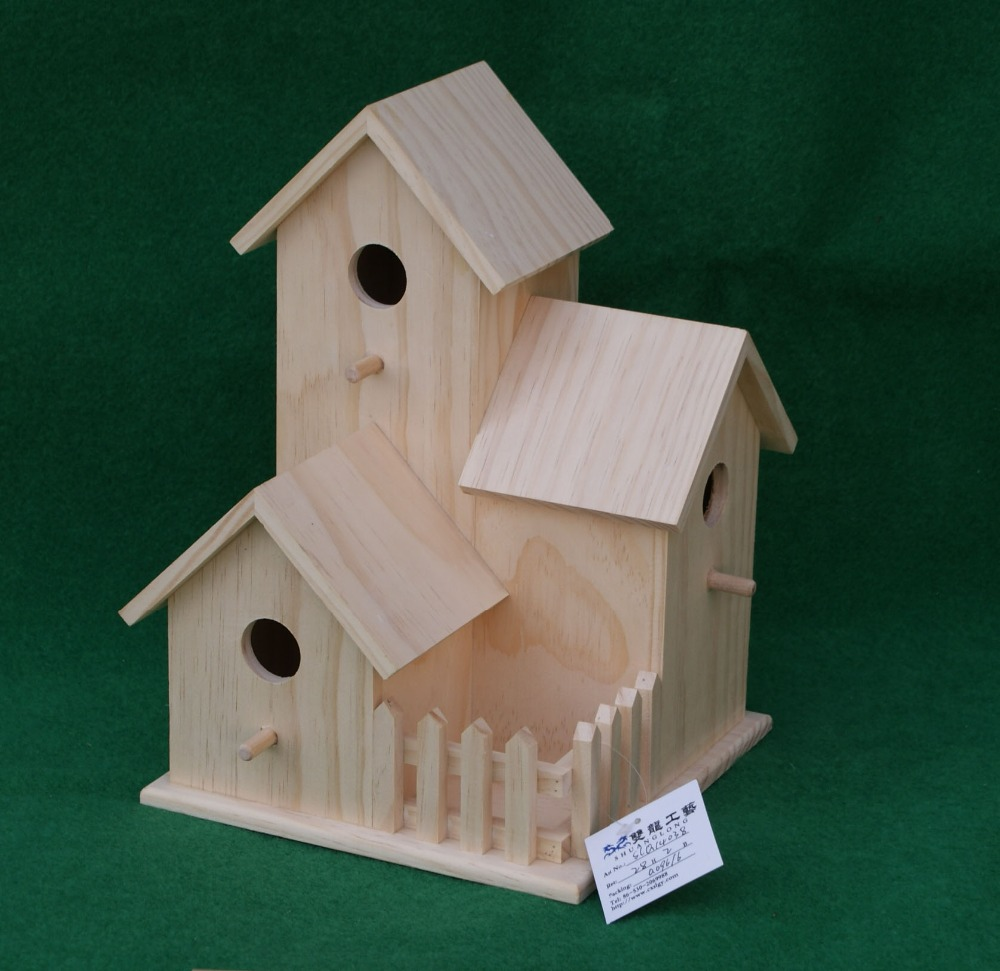 small wood carved decorative painting bird houses